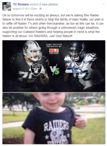 Oakland Raiders Fighting for Maliki, courtesy Faceebook