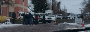 Another barricaded entrance at the courthouse in Burns, OR January 2016
