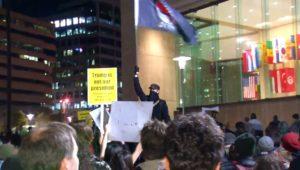 """ANTIFA Flag Bearer at the Baltimore """"Not My President"""" Protest – November 11, 2016"""